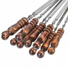 Шампура из нержавейки с деревянной лакированной ручкой 40см