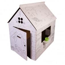 Домик - раскраска из картона 12шт 32,5х26,5х36,5 см ( Польша )